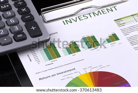 Investment analysis with colorful chart