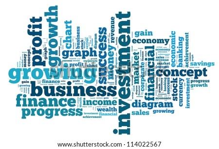 Investment and profit info-text graphics and arrangement concept on white background (word cloud)