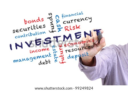 investment concept and other related words, written on white board. isolated over white background - stock photo