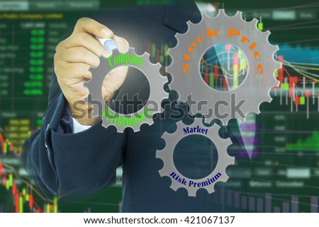 Investment concept. Double exposure of fund manager, gears with factors driving stock price and stock graph background.