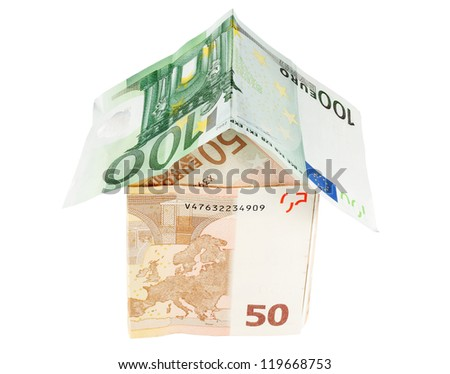 investment concept with a house made of European banknotes