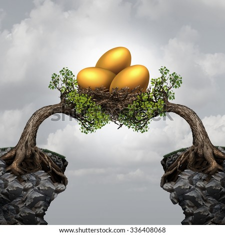 Investment group security business concept as two distant trees coming together to unite and support a nest of golden eggs as a financial metaphor for team investing or global funds advice. - stock photo