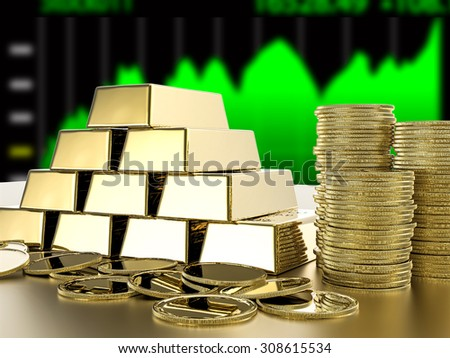 investment growth concept with stack of gold on stock market graph background - stock photo
