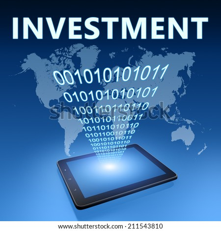 Investment illustration with tablet computer on blue background - stock photo