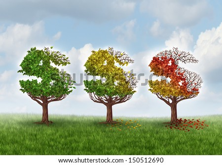 Investment loss and financial stress business concept with three trees shaped as a dollar or money symbol losing leaves in autumn colors as an idea for aging savings crisis needing a new strategy.