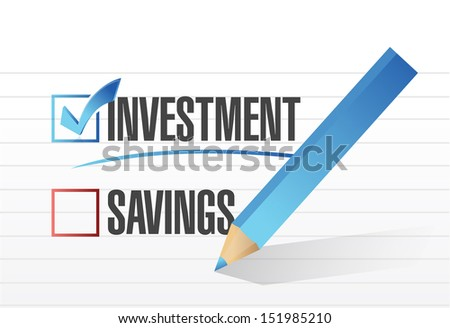 investment over savings. checkmark illustration design over white