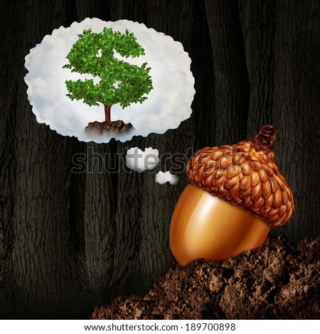 Investment planning business concept as an acorn seed dreaming about future growth ambition as a dollar sign money tree in a dream bubble as a financial and finance metaphor for investor success. - stock photo