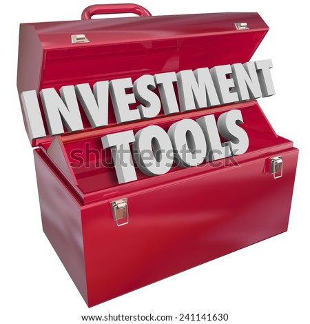 Investment Tools words in 3d letters in a red metal toolbox to illustrate financial advice and resources to help you grow wealth, income and earnings - stock photo