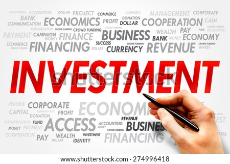 INVESTMENT word cloud, business concept - stock photo