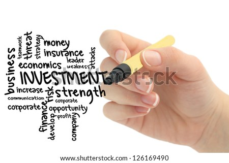 investment word cloud with hand - stock photo