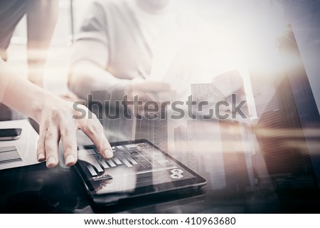 Investment work process.Double exposure photo woman showing business reports modern tablet,diagram screen.Banker manager holding pen for signs document, discussion startup idea.Horizontal. Film effect - stock photo