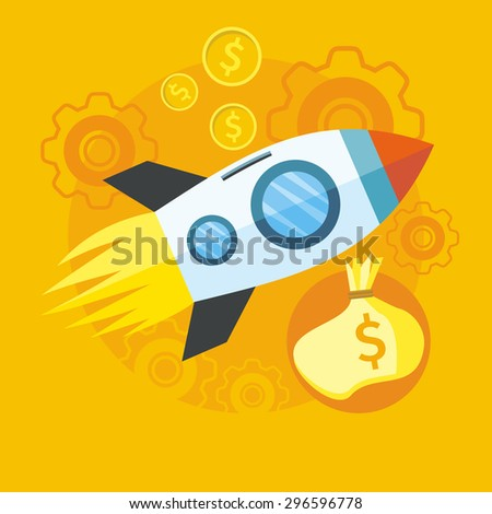 Investments in start up. Launching new product or service. Start up rocket idea icon in flat design on the stylish colored background with coins.  For web design, analytics. Raster version   - stock photo