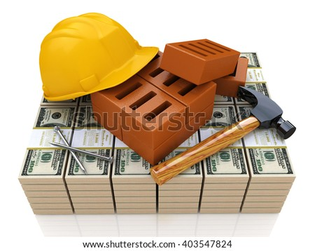 Investments in the construction industry - safety helmet, tools and money.3D Illustration - stock photo