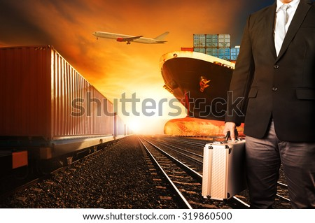 investor and container trains ,commercial ship on port freight cargo plane flying above use for logistic and transportation industry background - stock photo