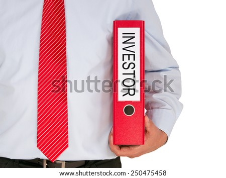Investor - Businessman with red binder on white background - stock photo