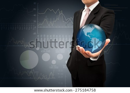 Investor with globe on the hands.