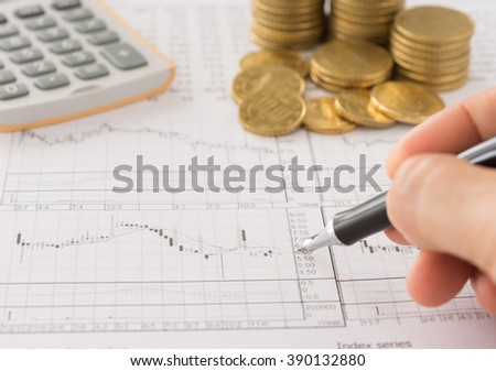 Investors are analyzing stock trends. Concept of business, finance, investment, financial service. - stock photo