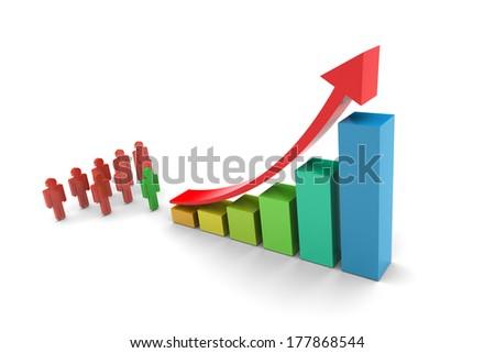 Investors Upward trend bar chart  illustration on white background - stock photo