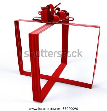 invisible gift bandaged velvet ribbon. isolated on white. - stock photo