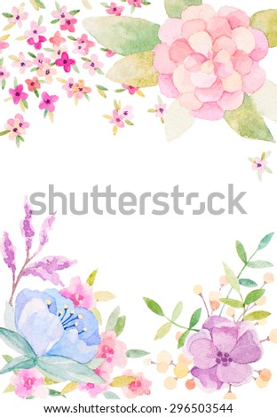 Invitation card for wedding with watercolor flowers - stock photo