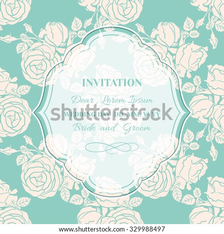 Invitation card or greeting.Retro background with frame on seamless pattern of roses