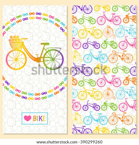 Invitation card with bike in the chain wreath. At the back six kinds of bicycles: mountain, road, city, bmx, kids and penny farting . Background with circles. - stock photo