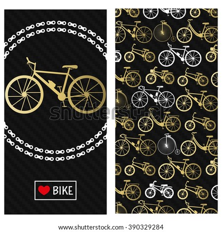 Invitation card with bike in the chain wreath. At the back six kinds of bicycles: mountain, road, city, bmx, kids and penny farting . Carbon black background. - stock photo