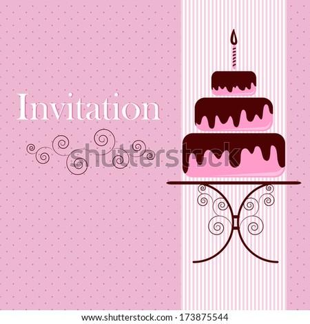 Invitation card with cake - stock photo