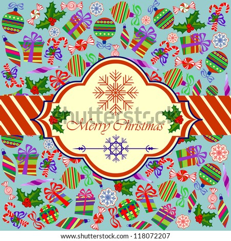 Invitation Card with Christmas Objects on Light Blue Background, Raster Illustration