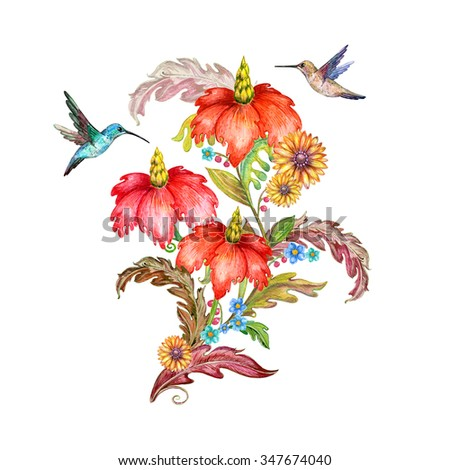 invitation card with fancy flora and birds. watercolor painting