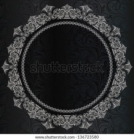 Invitation card with lace ornament. - stock photo