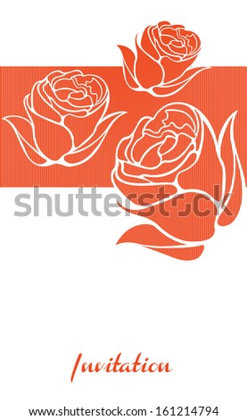 Invitation card with rose flower. Retro rose illustration