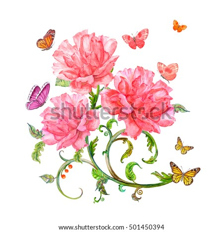 invitation card with roses and butterflies. watercolor painting.