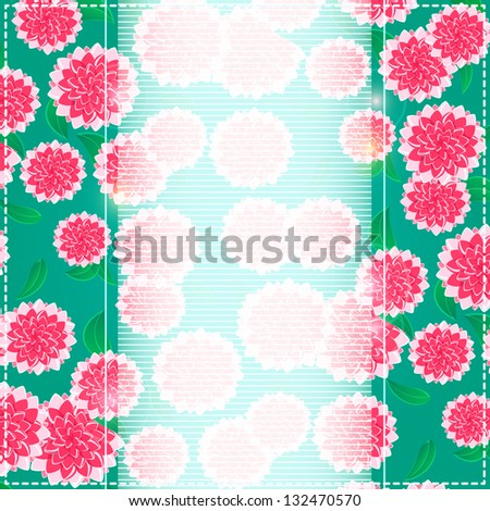 Invitation Pink Flowers Card on Green Background