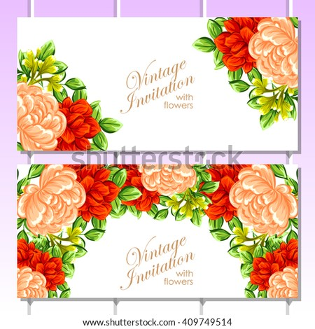Invitation with floral background - stock photo