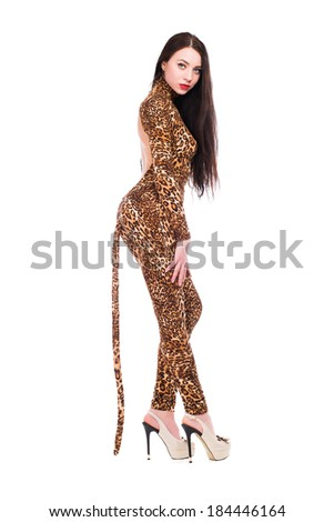 Inviting brunette wearing like a leopard. Isolated on white - stock photo