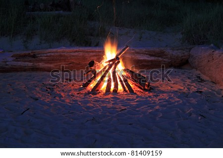Inviting campfire on the beach on the shore of Lake Michigan in the summer