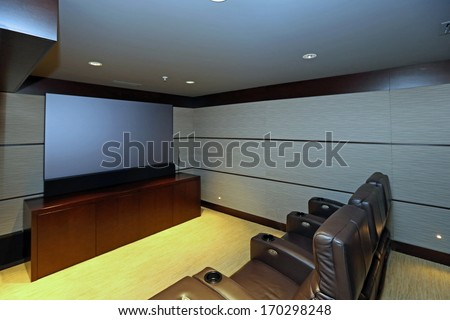 Inviting contemporary home theater  - stock photo