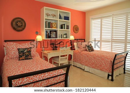 Inviting guest bedroom with custom design features - stock photo