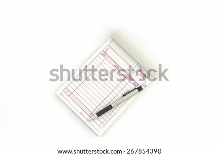 Example Of An Invoice For Payment Excel Stock Images Similar To Id   Receipt Cash Paper Definition Of Sales Invoice with Google Invoicing Invoice Book Which Open Blank Page With Pen On White Background  Stock  Photo Fake Invoice Generator