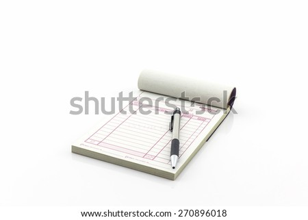 Invoice book which open blank page with pen on white background - stock photo