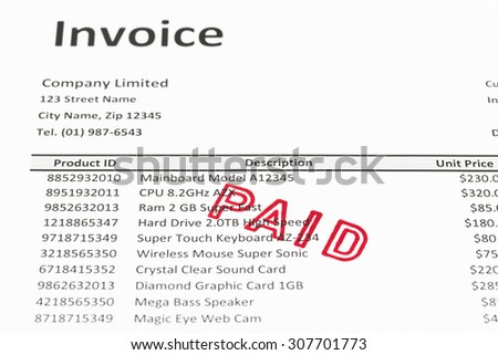 Invoice with paid stamp; invoice is mock-up