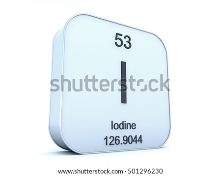 Iodine element on white square icon 3D render