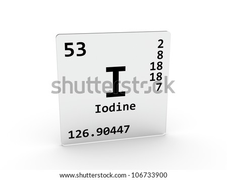 Iodine symbol - I - element of the periodic table - stock photo