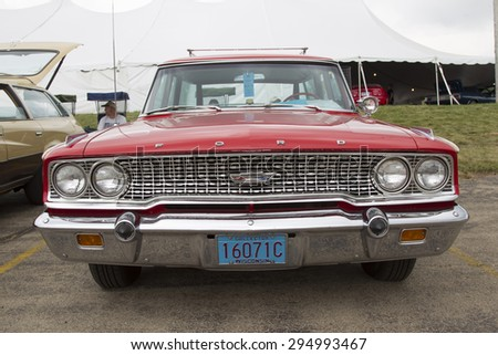IOLA, WI - JULY 12:  Front of 1963 Red Ford Galaxie Country Squire Car at Iola 42nd Annual Car Show July 12, 2014 in Iola, Wisconsin.