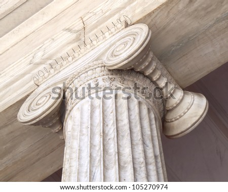 Ionian column capital, architectural detail - stock photo