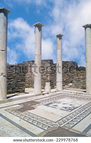 Ionian column capital, architectural detail on Delos island, Greece - stock photo
