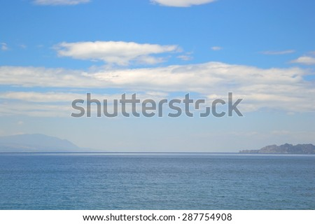Ionian sea in a cloudy day, Loutraki, Greece.