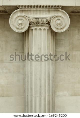 Ionic column detail, greek architecture - stock photo