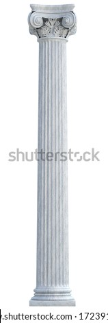 Ionic Column isolated. Clipping path - stock photo